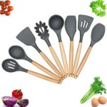Kitchen Utensils – Cooking Utensil – 8-piece Silicone Utensil Set Spatula Set – Nonstick Utensil Set – Kitchen Tools and Gadgets with Wood Handle – Kitchen Utensil Set Silicone Utensils