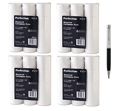 PM Company Perfection Recycled Calculator Rolls, 2.25 Inches x 150 Feet, White, 12 per Pack (02835) (4-Pack Bundle)
