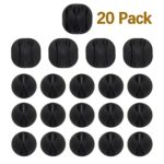 FIZZE 20pack Long Lasting Cable Clip, Multipurpose Organizer Solution for Desktop & Computer Messy Wires, Charging or Mouse Cord Holder at Home Office Black Color