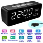 "Orionstar Aid Sleep Wireless Alarm Clock Radio Bluetooth Stereo Speaker HD Sound Repeat Snooze Function 8"" LED Thermometer AUX MicroSD USB iPhone /Android Compatible Model S1 with Wall Charger Black"