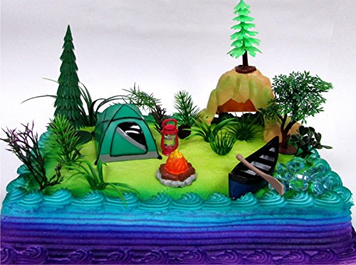 Nature Scene CAMPING 20 Piece Birthday CAKE Topper Set, Featuring Camping Items and Decorative Themed Accessories
