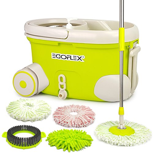 EGOFLEX Spin Mop Bucket System – Premium Microfiber Floor Mop with Stainless Steel Easy Wringer Rolling Bucket [3x Microfiber Mop Heads, 1x Chenille Mop Pad, 1x Scrub Brush, Extra Length Handle]