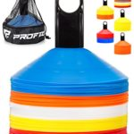 Pro Disc Cones (Set of 50) – Agility Soccer Cones with Carry Bag and Holder for Training, Football, Kids, Sports, Field Cone Markers – Includes Top 15 Drills eBook (Multi-Color)