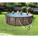 Bestway 14′ x 42″ Power Steel Frame Above Ground Swimming Pool Set with Pump