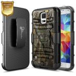 Samsung Galaxy S5 Active Case (G870), NageBee [Heavy Duty] Armor Shock Proof Dual Layer [Swivel Belt Clip] Holster with [Kickstand] Combo Rugged Case With [HD Screen Protector] -Camo
