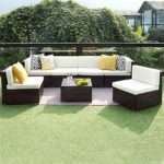 7 PCS Patio Furniture Conversation Set,Outdoor Sectional Sofa Set All Weather Brown Wicker Furniture Set by Wisteria Lane