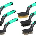 Detailing Wire Brush Set, Heavy Duty, Mini Scratch Brush, Crimped Brass, Stainless Steel, Nylon, With Scraper End, Curved Rubber-Grip Handle, (3) Wide (3) Narrow, Length 7-Inch, 6-Piece.