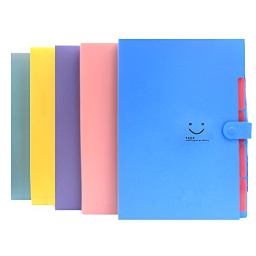 Expanding Files Box Accordion Folder – 5Pack 5 Pockets Plastic Accordian File Organizer A4 Letter Size Snap Closure Paper Organize Bag and Labels Poly Expanding File