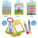 Kingseye Water Painting Graffiti Book Card 26pcs Chidren's Early Education Cognitive Cards Colouring Doodle Board 2 Magic Drawing Pens Games Toy for Toddlers Kids Baby – Number, Shapes and Colors