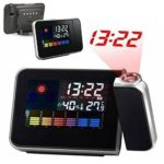 FAVOLOOK Weather Clock Station, Snooze Digital Projection Alarm with LED Display Backlight