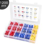 Eventronic 1200pcs Insulated Electrical Wiring Terminals Wire Terminal Crimp Connector Kit with 18 Size Assortment Terminal Set
