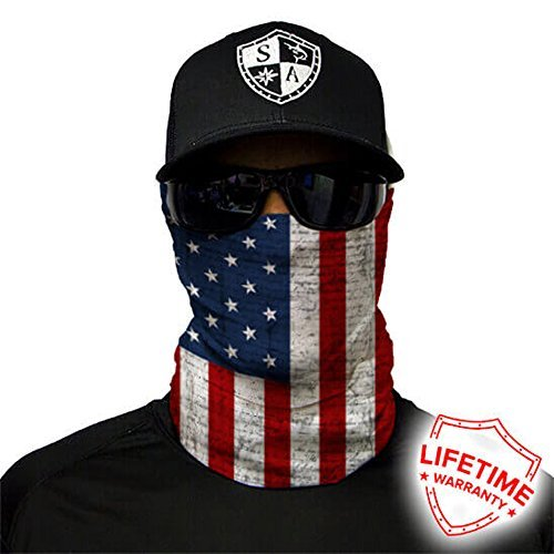 Salt Armour Face Mask Shield Protective Balaclava Bandana MicroFiber Tube Neck Warmer (American Flag)