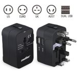 Travel Charger Adapter, Universal All in One US EU UK AU Power Plug Wall Charger Travel Adaptor with Dual USB Charging Ports for Cell phone laptop and more- Mochoog