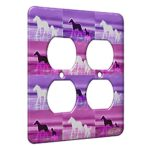 2 Gang AC Outlet Wall Plate – Beach Ponies at Twilight Horse Electric Art by Denise Every