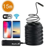 BlueFire Super Long Semi-rigid Flexible Wireless Endoscope WiFi Borescope 2 MP HD Resolutions Inspection Camera Snake Camera for Android and iOS Smartphone, iPhone, Samsung, iPad, Tablet (49.2 FT)