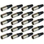GLS Audio XLR MALE Plugs Connectors XLR-M Plug – 20 Pack