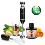 Hand Blender – Inofia 4 in 1 Powerful Immersion Hand Blender Set – Variable 5 Speed Control – Includes Food Chopper, Egg Whisk, and BPA-Free Beaker (700ML) – Black