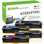 Aztech Compatible for HP 410X 410A HP M477fnw M477 M452 Toner Cartridge for HP Laserjet MFP M477fnw M477fdw M477fdn 477 Toner HP LaserJet Pro M452dn M452dw M452nw Toner (CF410X CF411X CF412X CF413X)