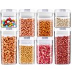 Food Storage Container, OnederHome Air-Tight Cereal & Dry Food Storage Set- 8 Piece Set with Free 20 Pcs Chalkboard Labels – Food Grade Durable Plastic BPA Free – Keep Food Dry & Fresh with Easy Lock