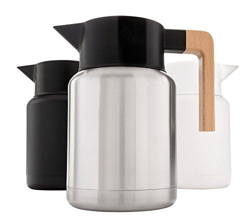 Heavy Duty Thermal Coffee Carafe - Stainless Steel, Double Walled Thermal Pots For Coffee and Teas by Hastings Collective - Silver, Vacuum Carafes With Removable Tea Infuser and Strainer - 50 Fl Oz.