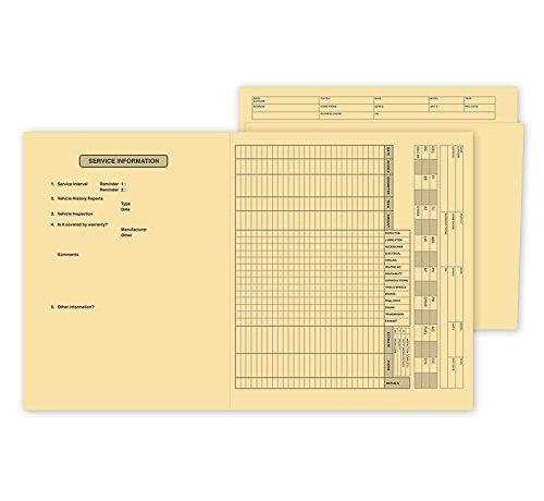 ABC Vehicle Service File Folder, Preprinted Records, 10 x 11 1/2″ – 100 Folders