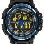 LEMFO LF21 NO1 Men's military ana-digi wrist watch, heavy duty design, stopwatch, EL backlight 5ATM waterproof + energy, distance track for physical fitness, tactical training, 1.5 miles, 5K, 10K run