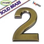 iMustech Mailbox Numbers, 2 Pcs/Set Solid Self-stick Number 2 for Mailbox, Door, Apartment, Hotel, 2-3/4 Inch, 3D Metal Brass