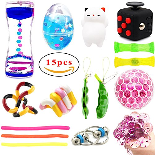 15Pack Bundle Sensory Toys -Soft Egg Slime/ Fidget Cube/ Bike Chain/ Liquid Motion Timer/ Twisted Fidget Toys/ Mesh & Marble Toy/ Soybeans Squeeze Grape Ball Stretchy String Mochi Animals Stress Toy