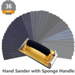 Wet Dry Sandpaper, 120 to 3000 Assorted Grit Sandpapers with Hand Sander for Wood Furniture Finishing, Metal Sanding and Automotive Polishing, 9 x 3.6 Inch, 36-Sheets by DRILLPRO