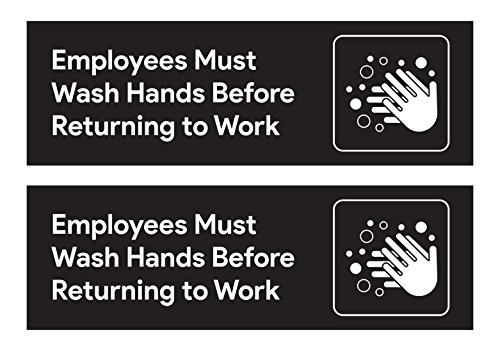 Employees Must Wash Hands Restroom Stickers (Pack of 2) - 8.75 inches by 2.5 inches | For Restaurants, Retail Stores, Salons, Hotels and Motels, Gas Stations, Rest Stops, and Other Public Bathrooms