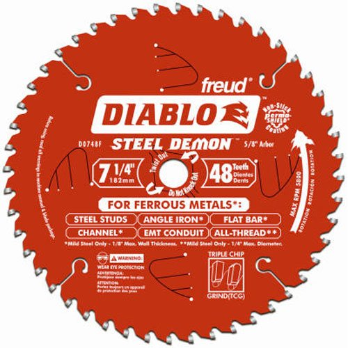 Freud Diablo DO748F Diablo Steel Demon 7 1/4 Inch 48-Tooth Titanium Carbide TCG Ferrous Metal Cutting Circular Saw Blade w/Perma Shield Non-Stick Coating and Laser Cut Stabilizing Vents