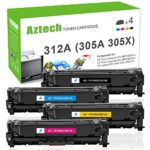 Aztech 4 Pack Compatible for HP 305A CE410A 305X CE410X 312X CF380X (312A CF380A) Toner Cartridge for HP Laserjet Pro 400 Toner Laserjet M451dn M451nw MFP M475dn, LaserJet Pro MFP M476nw M476dn M476dw