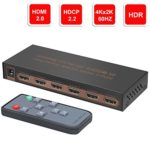 4K@60Hz 5 ports HDMI Switch, YIBAI 5 inputs 1 output HDMI Switch Box with IR Wireless Remote HDMI 2.0,HDCP 2.2,UHD,CEC,HDR HDMI Switcher 5×1 Supports FullHD,3D,For Blu-ray players,PS4, and more.
