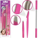 Facial Hair Removal Threading Tool Set by ElieseBeauty, Removes Hair From Upper Lip, Chin, Side Burn, Cheek No Shaving, Lasers, Waxing. Includes Epilator Wand, Tweezers, Eyebrow Shaping Razor.