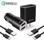 Samsung Galaxy S9 / Note 8 / S8 / S8 Plus Fast Charger, Jelly Comb Quick Charge 3.0 Dual USB Car Charger + Wall Charger + 2 Pack USB Type C Cables for LG G6 / G5, HTC 10, Samsung S9 Plus and More
