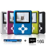 Lecmal Portable MP3/MP4 Player with 16GB Micro SD Card, Economic Multifunctional Music Player with Mini USB Port, MP3 Voice Recorder, Media Player for Kids-16GB-Blue