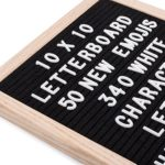 Felt Letter Board 10×10 Inch Black Oak Framed Changeable Premium Message Sign Board with White Letters and bag Including Emoji's Numbers Punctuation & Wall Mount for Office Church School or Home