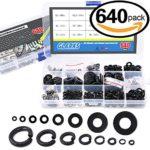 Glarks 640Pcs Metric Flat Washers and Split Lock Washers Assortment Set For M2 M2.5 M3 M4 M5 M6 M8 M10 screws bolt, Black Zinc Plated Alloy