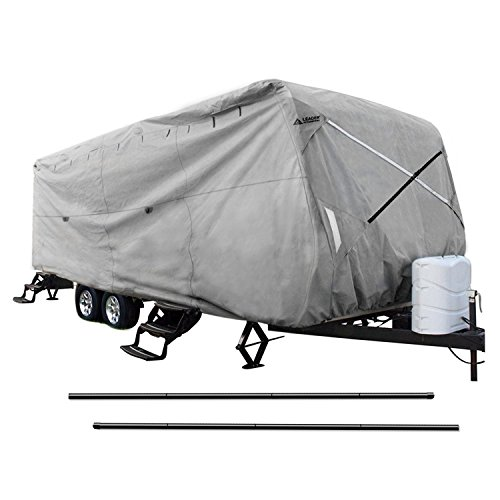 Leader Accessories New Easy Setup Travel Trailer Cover Fits 20′-22′ RV Camper W Assist Steel Pole