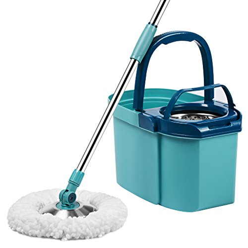 Finether Stainless Steel 360 Spin Mop and Bucket System, Easy-Wringing Wet Dry Mop for Home Hard Floor Wood Laminate Tile Window (1 Telescoping Handle + 1 Bucket with Wringer + 3 Microfiber Mop Heads)