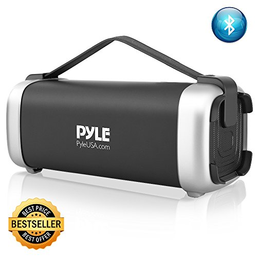 Pyle Wireless Portable Bluetooth Speaker – 200 Watt Power Rugged Compact Audio Sound Box Stereo System – Rechargeable Battery, 3.5mm AUX Input Jack, FM Radio, MP3, Micro SD and USB Reader – PBMSQG12