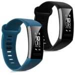 kwmobile 2in1 set: 2x Sport spare bracelet for Huawei Band 2/Band 2 Pro in black dark blue Inner dimensions: approx. 16-22 cm – silicone bracelet with clock clasp without tracker