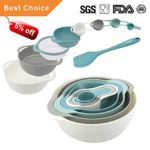 KALREDE Mixing Bowls Set Plastic 9 PCS including Silicone Spatula, Measuring Spoons, Colander, Sifter and Compact Nesting Mixing Bowl ( Food-Grade PP, Multi-Colour )