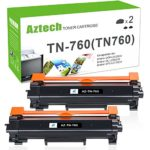 Aztech 2 PK High Yield Compatible for Brother TN-760 TN730 TN760 Toner Cartridge for Brother HL-l2390dw HL-l2395dw DCP-l2550dw MFC-l2750dw MFC-l2710dw HL-l2350dw HL-l2370dw HL-L2370DWXL Toner-No Chip