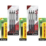 Pilot Precise V5 RT Retractable Rolling Ball Pens, Extra Fine Point, 6 Pens, Black Ink (26052) with 6 Black Ink Refill