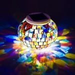 Solar Mosaic Table Lights,Businda Glass Ball Garden Lights Color Changing Solar Night Lights Waterproof Rechargeable for Home, Garden, Patio Decoration Warm