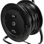 Pyle Heavy Duty Extension Cable Reel – Portable 166 ft Electrical Power Cord Industrial Grade Cat 5 with Male & Female RJ45 Connector Retractable Wire – Outdoor Office & Professional Used PCATCBL150