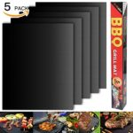 Barbecue mat (Set of 5), Grilldom High Quality and Reusable BBQ Grill Mat, Teflon Non-stick 0.2mm thick 40x33cm, Ideal for Grill and Hot Plate Anti-stick, BBQ Brill and Baking