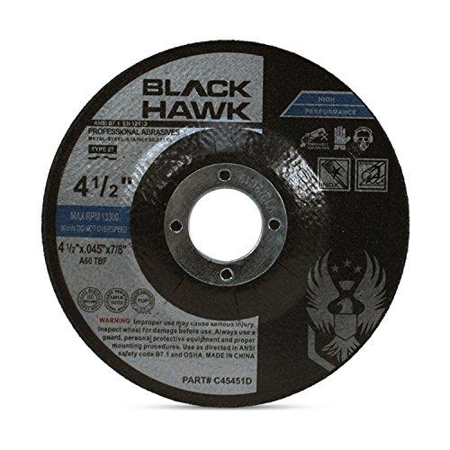 25 Pack Black Hawk 4-1/2″ x .045 x 7/8″ Arbor Depressed Center Cut Off Wheels – Metal & Stainless Steel Type 27