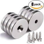 """1.26""""D x 0.2""""H Neodymium Disc Countersunk Hole Magnets. Strong Permanent Rare Earth Magnets with Screws – Pack of 8"""